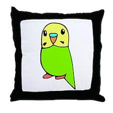 Cute Green Budgie Throw Pillow