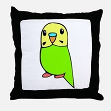 Cute Green Budgie Throw Pillow