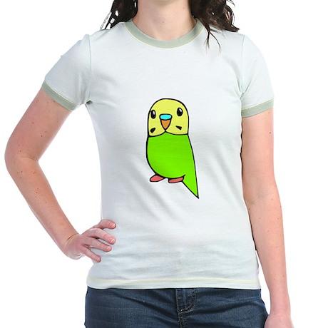 Cute Green Budgie Jr. Ringer T-Shirt