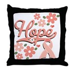 Hope Pink Ribbon Throw Pillow