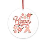 Hope Pink Ribbon Ornament (Round)