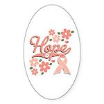 Hope Pink Ribbon Oval Sticker (10 pk)