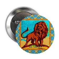"Vintage Loteria Lion 2.25"" Button"