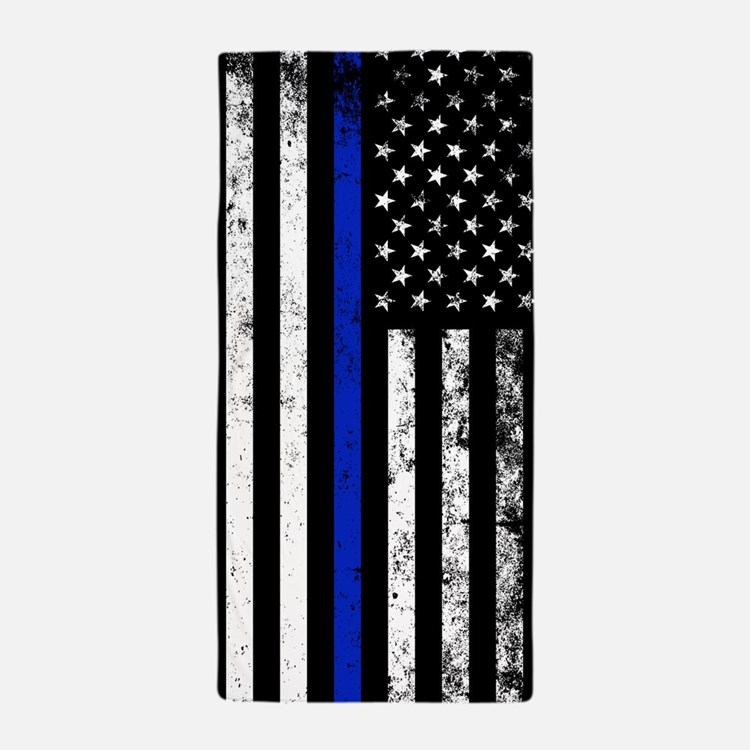 Vertical distressed police flag Beach Towel