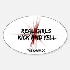 Tae Kwon Do Girls Kick Oval Decal