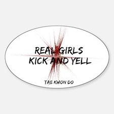Tae Kwon Do Girls Kick Oval Decal