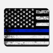 Horizontal style police flag Mousepad