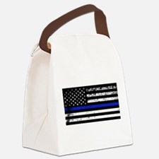 Horizontal style police flag Canvas Lunch Bag