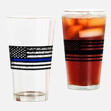 Horizontal style police flag Drinking Glass