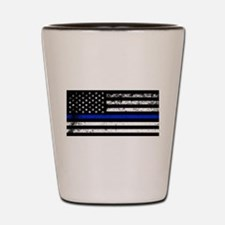 Horizontal style police flag Shot Glass