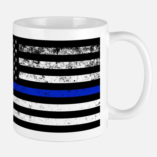 Horizontal style police flag Mugs