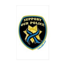 Thin Blue Line Support Police Rectangle Sticker 1