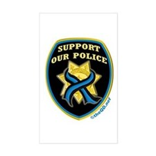 Thin Blue Line Support Police Rectangle Stickers