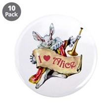 """I LOVE ALICE - PINK EYES 3.5"""" Button (10 pack)"""