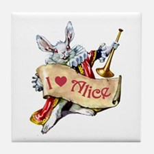 I LOVE ALICE - PINK EYES Tile Coaster