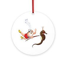 Scuba Santa & Seahorse Reindeer Holiday Ornament