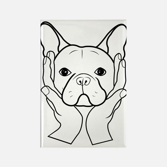 French Bulldog Head in Hands Rectangle Magnet