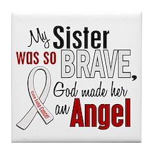 Angel 1 SISTER Lung Cancer Tile Coaster
