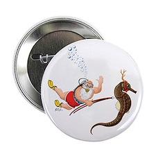 Scuba Santa & Seahorse Reindeer Button