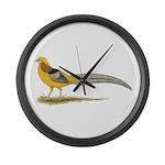 Yellow Golden Pheasant Large Wall Clock