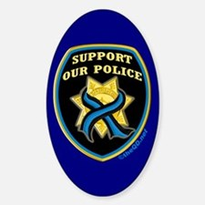 Thin Blue Line Support Police Oval Sticker (10 pk)