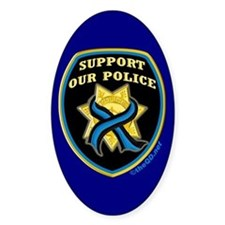 Thin Blue Line Support Police Oval Stickers