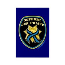 Thin Blue Line Support Police Rectangle Magnet