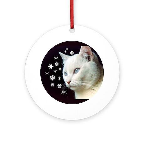 White Cat & Snowflakes Ornament