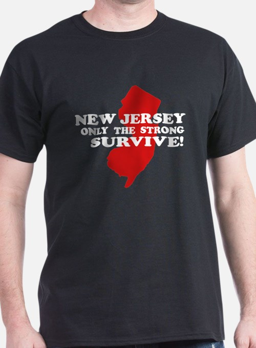 New Jersey Only the strong survive Black T-Shirt