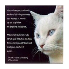 White Cat Blessing Tile