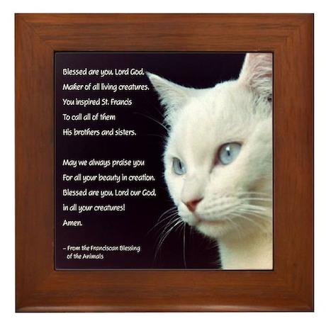 White Cat Blessing Framed Tile