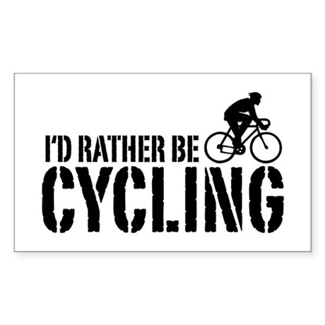 I'd Rather Be Cycling (Male) Rectangle Sticker