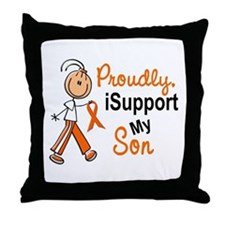 iSupport My Son SFT Orange Throw Pillow