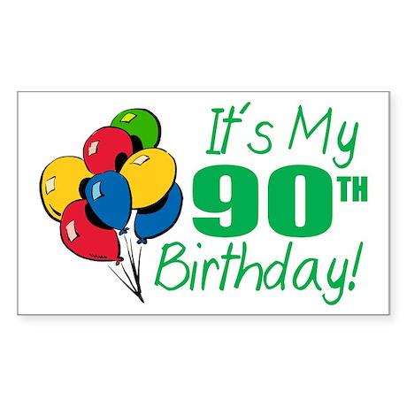 It's My 90th Birthday (Balloons) Sticker (Rectangl