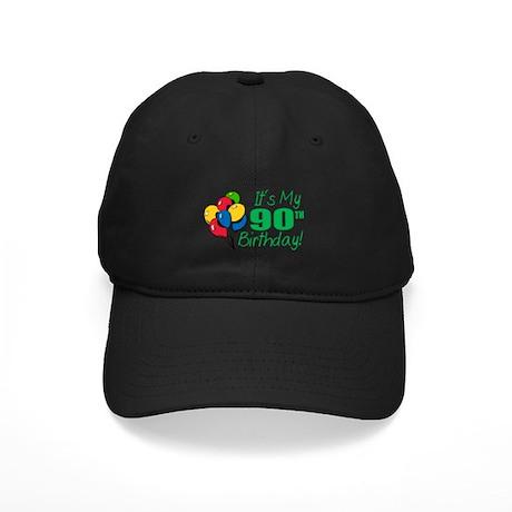 It's My 90th Birthday (Balloons) Black Cap