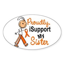 iSupport My Sister SFT Orange Oval Decal