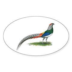 Lady Amherst Pheasant Oval Sticker (10 pk)