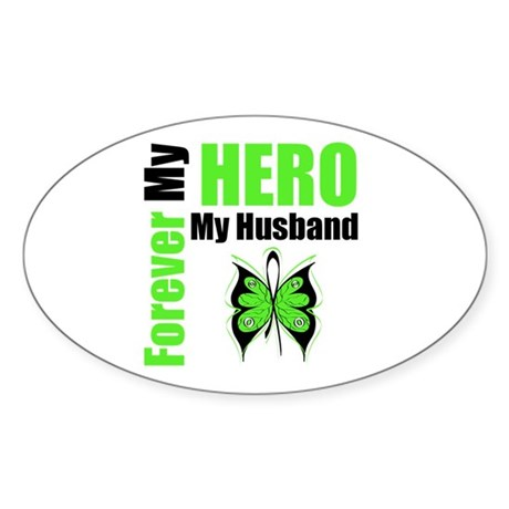 Lymphoma Hero Husband Oval Sticker