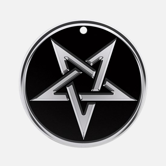Inverted Silver Pentacle Ornament (Round)