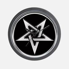 Inverted Silver Pentacle Wall Clock