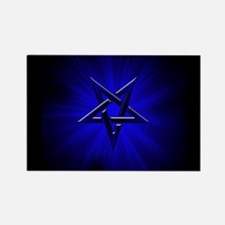 Ominous Blue Inverted Pentagram Rectangle Magnet