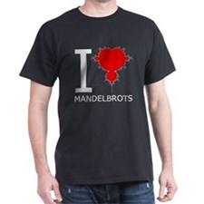 I Heart Mandelbrots Black T-Shirt