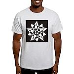 Wht on Blk Pentagram Flower Ash Grey T-Shirt
