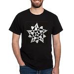 Wht on Blk Pentagram Flower Black T-Shirt