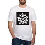 Wht on Blk Pentagram Flower Fitted T-Shirt