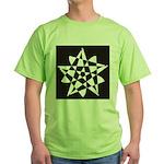 Wht on Blk Pentagram Flower Green T-Shirt