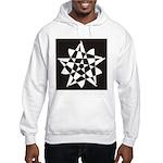 Wht on Blk Pentagram Flower Hooded Sweatshirt