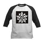 Wht on Blk Pentagram Flower Kids Baseball Jersey