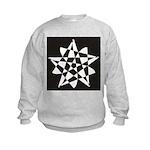 Wht on Blk Pentagram Flower Kids Sweatshirt