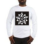 Wht on Blk Pentagram Flower Long Sleeve T-Shirt